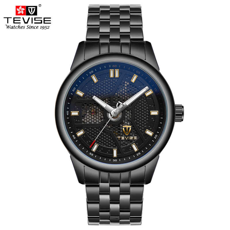 TEVISE Automatic Mechanical Watches Men Self Wind Skeleton Dial Black Stainless Steel Luminous Analog Wristwatches 9008G tevise men automatic self wind gola stainless steel watches luxury 12 symbolic animals dial mechanical date wristwatches9055g