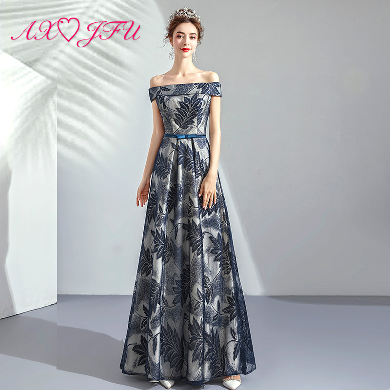 AXJFU princess blue flower   Evening     Dresses   luxury vintage boat neck feather navy blue bow   evening     dress   9116