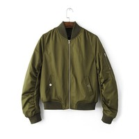 VogaIn New 2016 Fashion Army Green Short Bomber Jacket with Stand Collar Long Sleeved With Pockets Zipper front