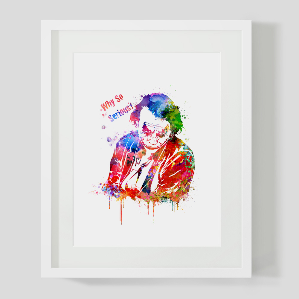 Joker Watercolor Painting Why So Serious Poster Wall Art Quote Decor Joker Nursery Wall Hanging Art Pictures Gift No Frame Z222 in Painting Calligraphy from Home Garden