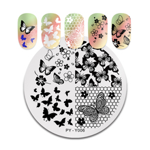 PICT YOU Flowers Lace Nail Stamping Plates Flower Image Grid Butterfly Art Natural Stencil Templates DIY
