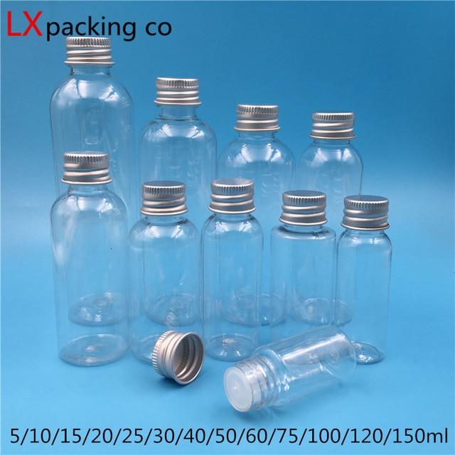 50個送料無料5 10 25 30 60 100 150ミリリットル空の透明なプラスチック包装ボトル化粧品容器小売卸売