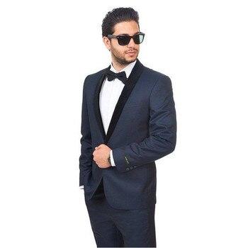blue tuxedos for men black shawl lapel wedding suits for men back vent men suits custom groom wedding suits (Jacket+Pant)