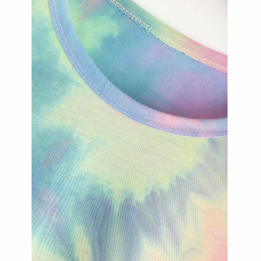 Feitong/летние модные женские короткие топы с круглым вырезом и галстуком-красителем из хлопка, Женская Повседневная Блузка с коротким рукавом, летняя женская блуза