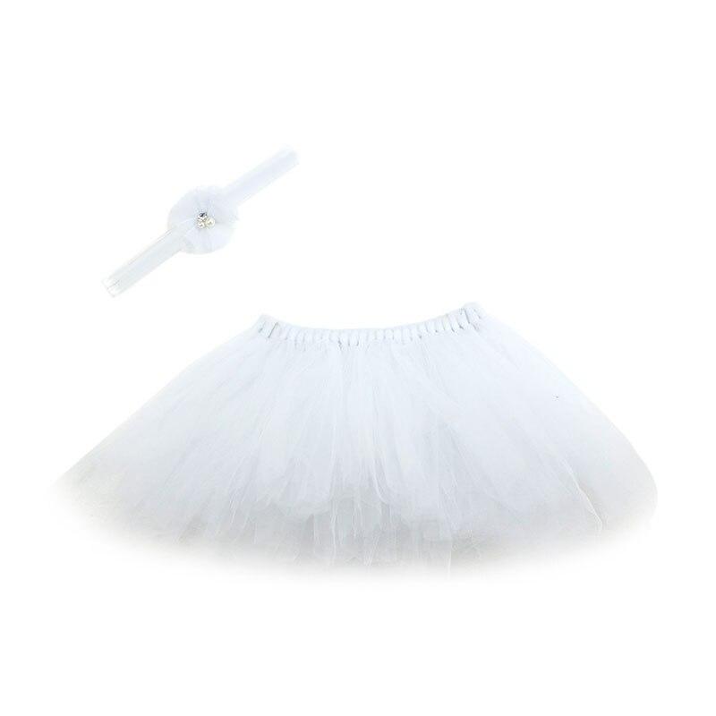 NoEnName-Null милый, для новорожденных девочек юбка-пачка и повязка на голову с цветком, наряд для фотосессий, Рождественский Костюм - Цвет: White