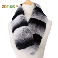 ZDFURS *Winter 2017 Brand New Arrival Natural Chinchilla Muffler 100% Real Natural rex rabbit Fur Scarf Fashion Scarf Fur