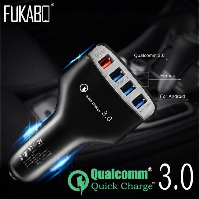 טעינה מהירה QC 3.0 רכב מטען 4 יציאות USB עבור שיאו mi mi 9 Huawei P30 פרו סמסונג S8 S9 S10 iPhone X Tablet טלפון תשלום מהיר