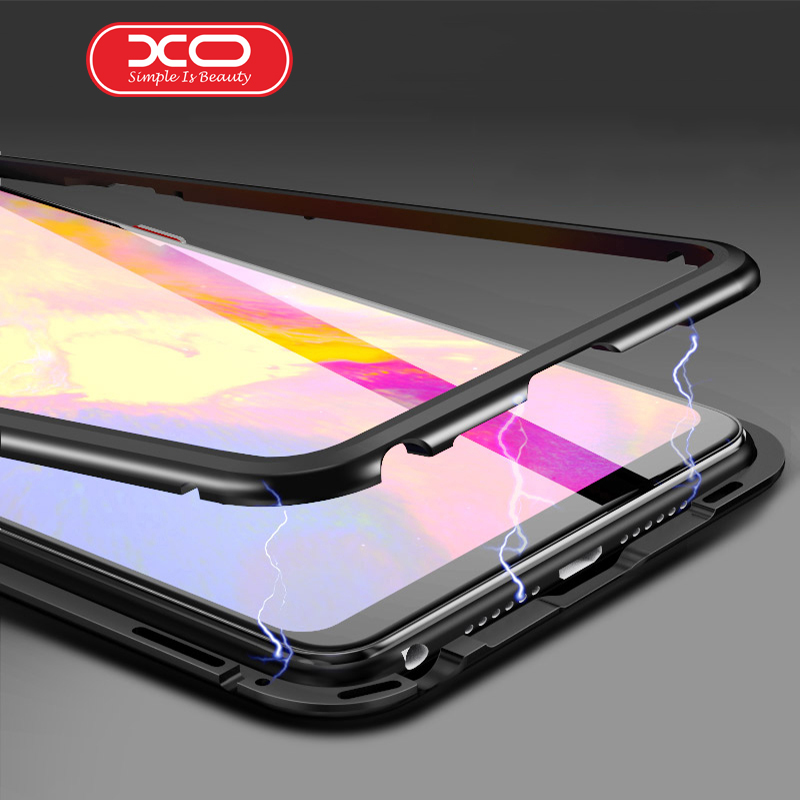 XO for iPhone X Magnetic Phone Case Magneto Adsorption Metal cover for iPhone 7 Plus 8 Plus tempered glass back coque case