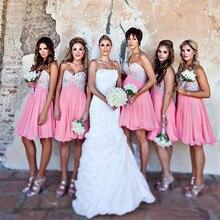 2017 Short Bridesmaid Dresses Sweethert  Chiffon A Line Knee-Length Coral Dress Robe Demoiselle Honneur Red Bridesmaid Dresses