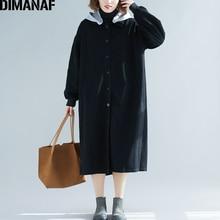 DIMANAF Plus Size Women Jackets Long Sleeve Demin Basic Coats Fashion Autumn Winter 2019 Female Hooded Loose Outerwear Cardigan