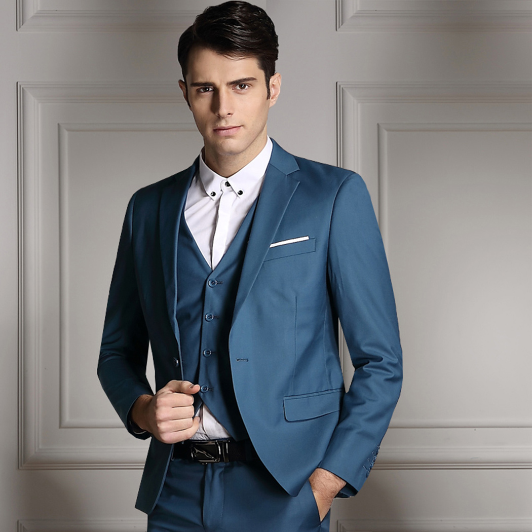 3 PCS Men Jacket Vest Pants Suits Formal Tuxedos Dress Gentle ...