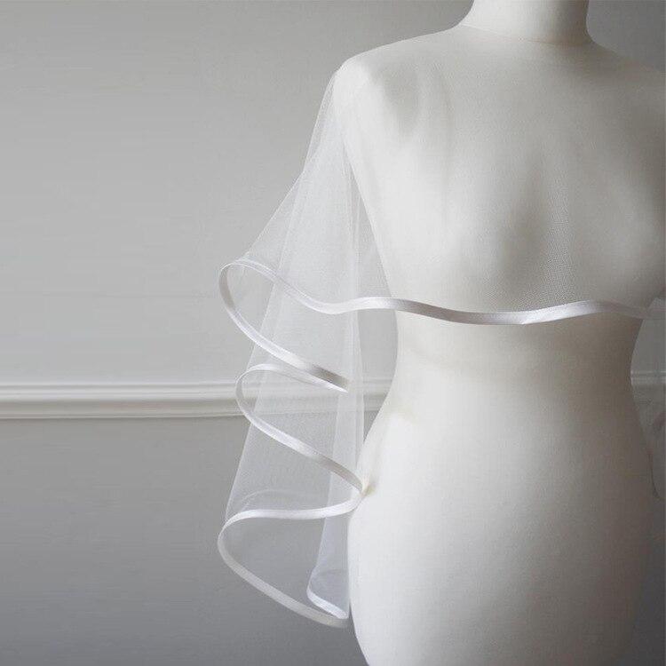 Simple Elegant Tulle Wedding Wraps Bolero bridal jacket ivory wedding jacket Wedding Accessories 2019