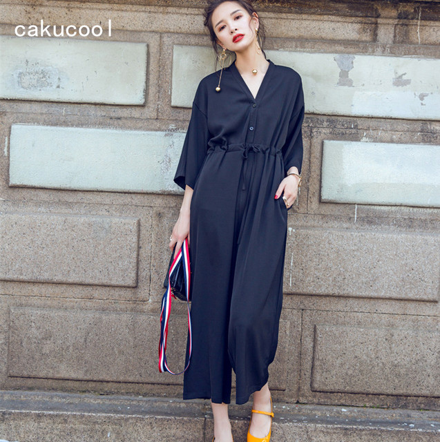 9ea1da9c296 Cakucool Long Sleeve Jumpsuit Women Casual Overalls V-neck Loose Black Wide  Leg Pants Ankle-length Pleated Slim Women Rompers