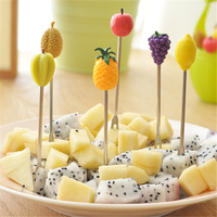 6pcs Green Biodegradable Wheat Straw Stainless Steel Fruit Fork Set Party Cake Salad Vegetable Forks Picks