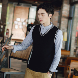 Image 3 - 100% Cotton Vest Men 2018 Autumn Winter New British style V neck Sleeveless Sweater Knitwear Pull Brand base top Clothing 192