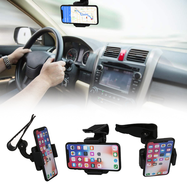 Universal Car Sun Visor Clip Extra-firm Stand Bracket Rearview Mirror Mount  For All Cell Phone iPhone 6 6S 7 GPS Cradle Holder d0bd273496f