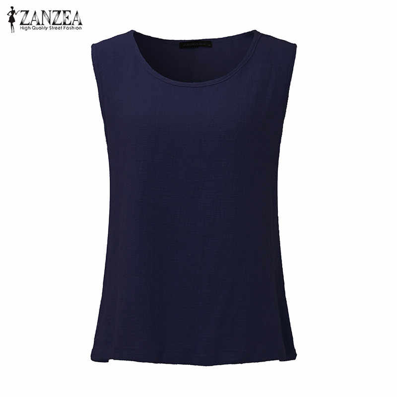 ZANZEA для женщин летние безрукавки для Винтаж блузки без рукавов повседневное без рукавов Твердые свободные хлопковые рубашк