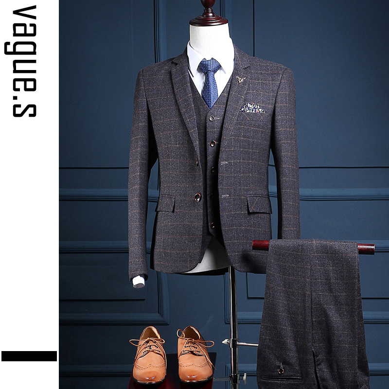 Aliexpress.com : Buy OSCN7 Dark Grey Plaid Suit Men Slim Fit ...