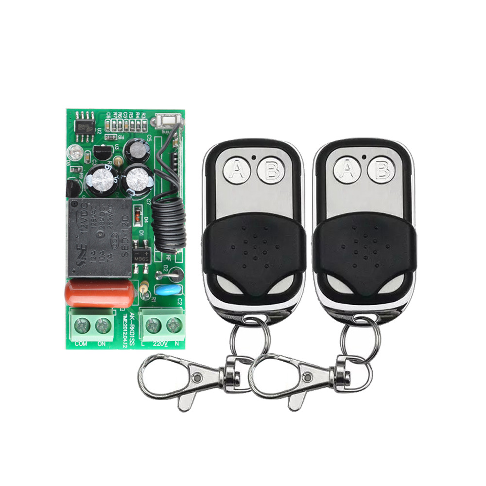 AC 220V 1CH 10A Wireless Remote Control Switch System 2 Button Remote Control for Light LED Lighting keyshare dual bulb night vision led light kit for remote control drones