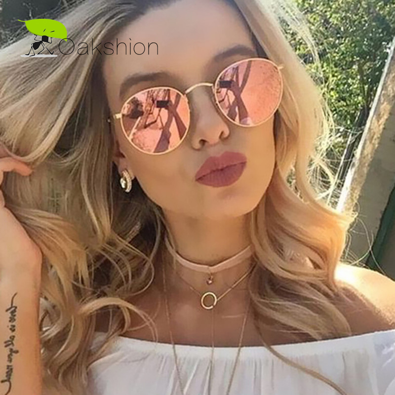 Classic Fashion Rose Gold Metal Frame Sunglasses Women Round Mirror <font><b>Lens</b></font> Anti-reflected light Trendy Hot Sale Pink Sun Glasses image
