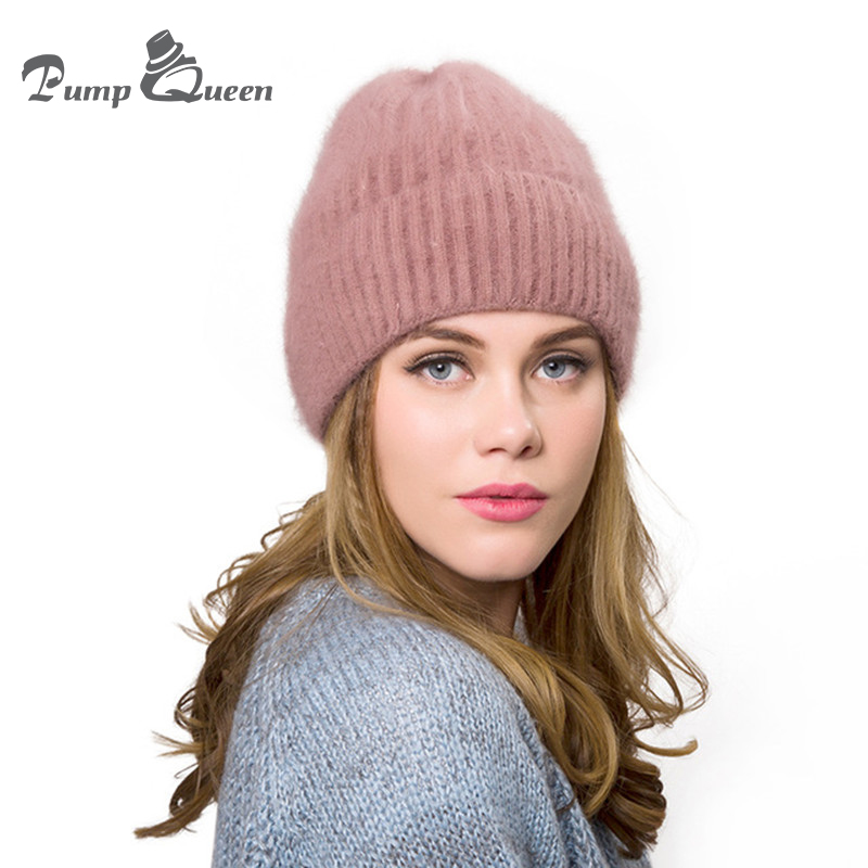 Pump Queen 2018 New Women's Hats Female Wool Casual Autumn Winter Brand Double Layer Thick Knitted Girls   Skullies     Beanies