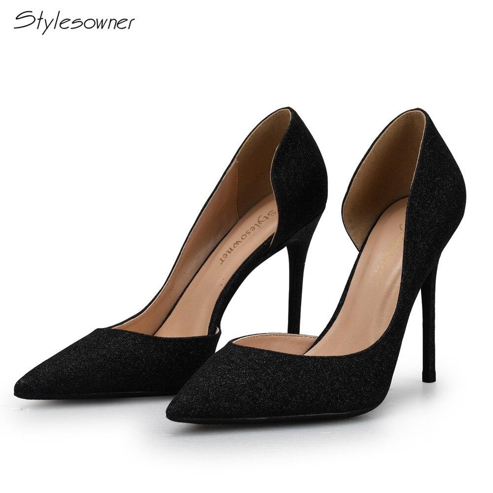 Stylesowner 2018 Women Pumps Spring Autumn Fashion Women Shoes Shallow High Heels Gold Sexy Thin Heels High Wedding Shoes