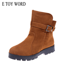 E TOY WORD 2019 Women Boots Winter Shoes large size 40-43 platforms Female Warm Botas Mujer round Toe Ankle Womens Snow Boots size 34 43 winter women snow boots warm round toe comfortable flat shoes female footwear fashion botas popular 896