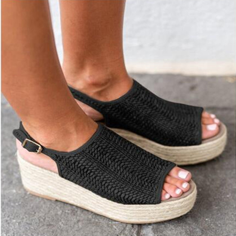 Women Platform Wedge Shoes Peep Toe Weaving Sandals Fish Mouth Shoes for Summer PO66