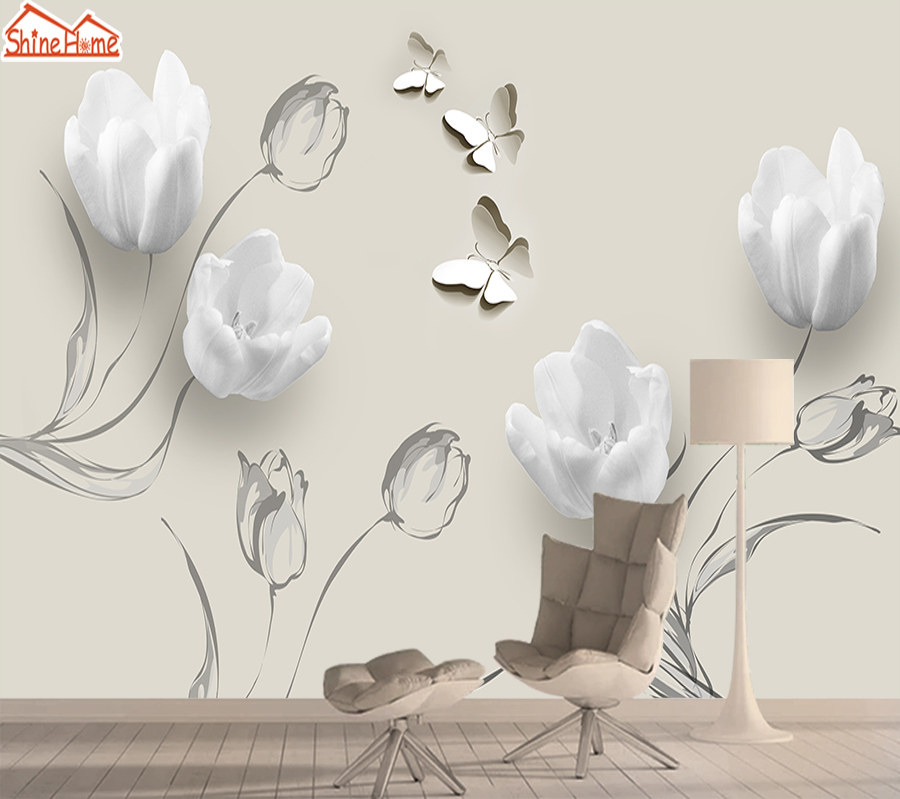 Tulip 3d Mural Wallpaper Contact Wall Paper Papers Home Decor Photo Wallpapers For Living Room Self Adhesive Murals Walls Rolls