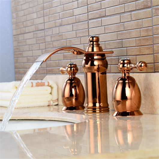 Deck Mounted Three Holes Double Handles Rose red faucet Bathroom Sink Faucet, Antique Brass Finished three 100ml