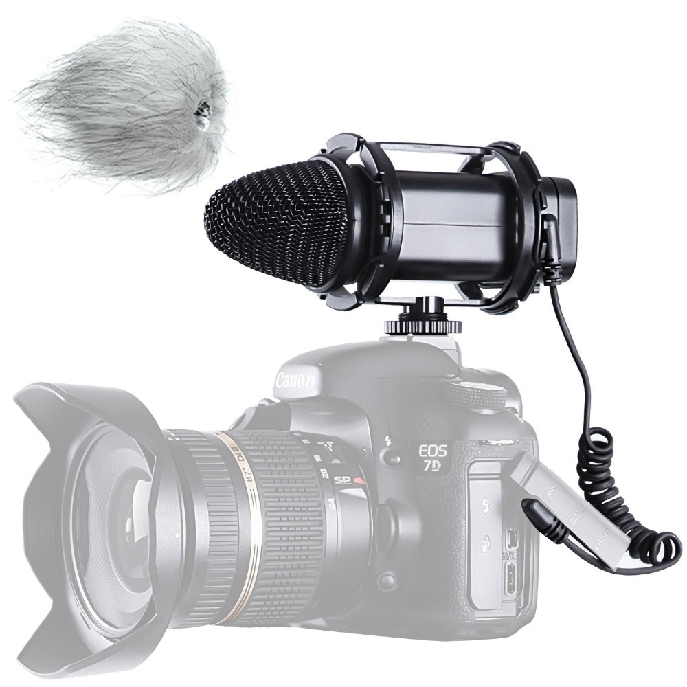 BOYA BY-V02 External Stereo Compact Condenser Microphone for Canon Nikon Sony DSLR Cameras Camcorder Audio recorders