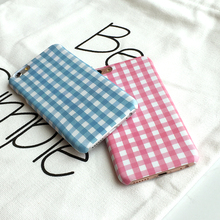 Fresh Pink Blue Plaid Hard Pc for Iphone 7 Simple Lovers Grid Case for Iphone 6 6s 6plus 7plus Case Cover