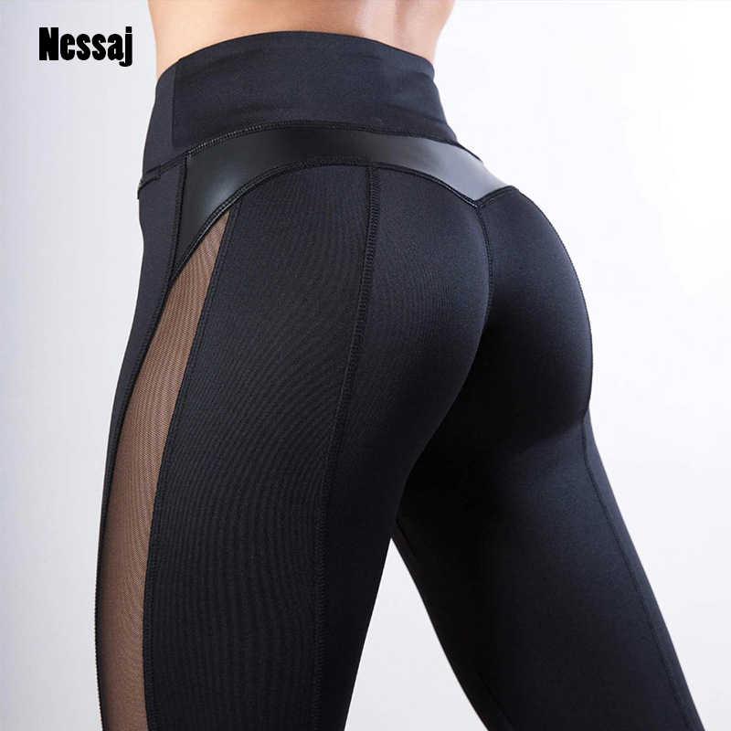 Nessaj Katı Kadınlar Renk Tayt Seksi Yan Mesh PU Deri Patchwork Spor Tayt Activewear Yüksek Bel Egzersiz Tayt