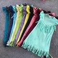 A granel al por mayor del bebé niñas primavera verano solid dress boutique de ropa desgaste de los niños del todo-fósforo multicolor de las borlas de algodón menta