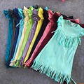 wholesale bulk baby girls spring summer solid Tassels cotton dress boutique all-match clothing kids wear multi color mint