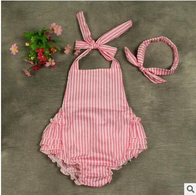2016 new summer baby girl Romper +Headband baby clothes stripe Strap Infant Jumpsuit clothing 3 color