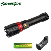 Skywolfeye LED Flashlight 1000Lumen 3 Modes Zoomable Flash Light Focus Lamp With Laser Torch 18650 Rechargeable Battery Charger