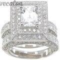 Vecalon fashion Engagement Wedding band Ring Set for Women 2ct Simulated diamond Cz 14KT White Gold Filled Female Finger ring