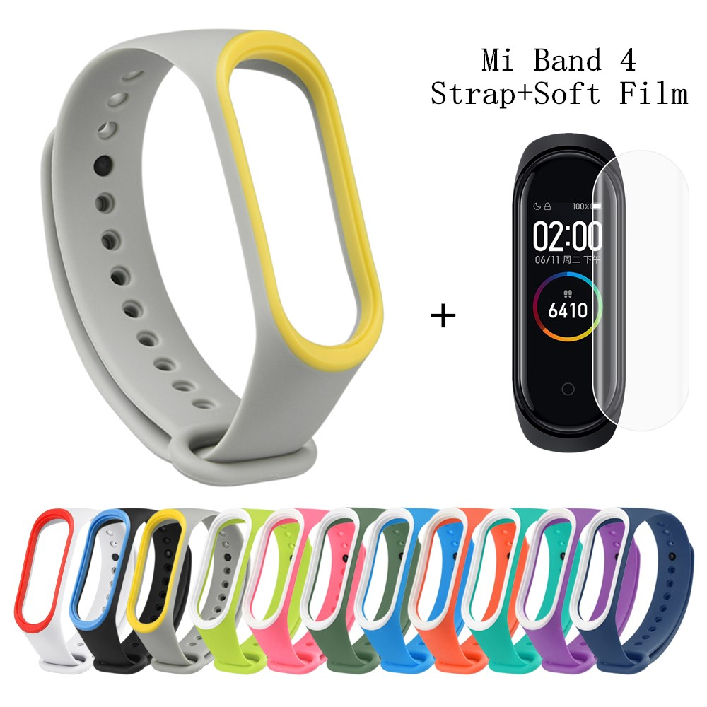 Straps-Accessories Screen-Protector Mi-Band Color Xiaomi Silicone for Soft-Film