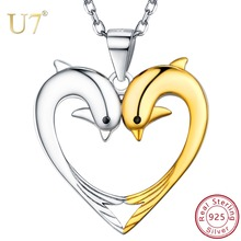 U7 925 Sterling Silver Cute Couple Dolphins Love Heart Necklace Pendants Friendship Jewelry for Women Mothers Day Gifts SC280