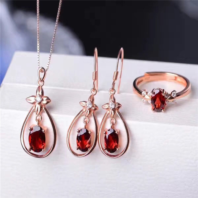 Color jewelry Natural Garnet Necklace Earrings Ring Pendant Jewelry Set Jewelry 925 silver inlaid jewelry rhinestone inlaid geometric faux gem pendant jewelry set