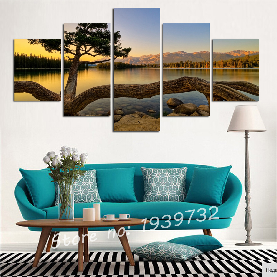 5 pcs Modern Sunset Landscape Canvas oil Painting Wall Art Picture Home Decor For Living Room NO FRAME F1659 wholesale in Painting Calligraphy from Home Garden