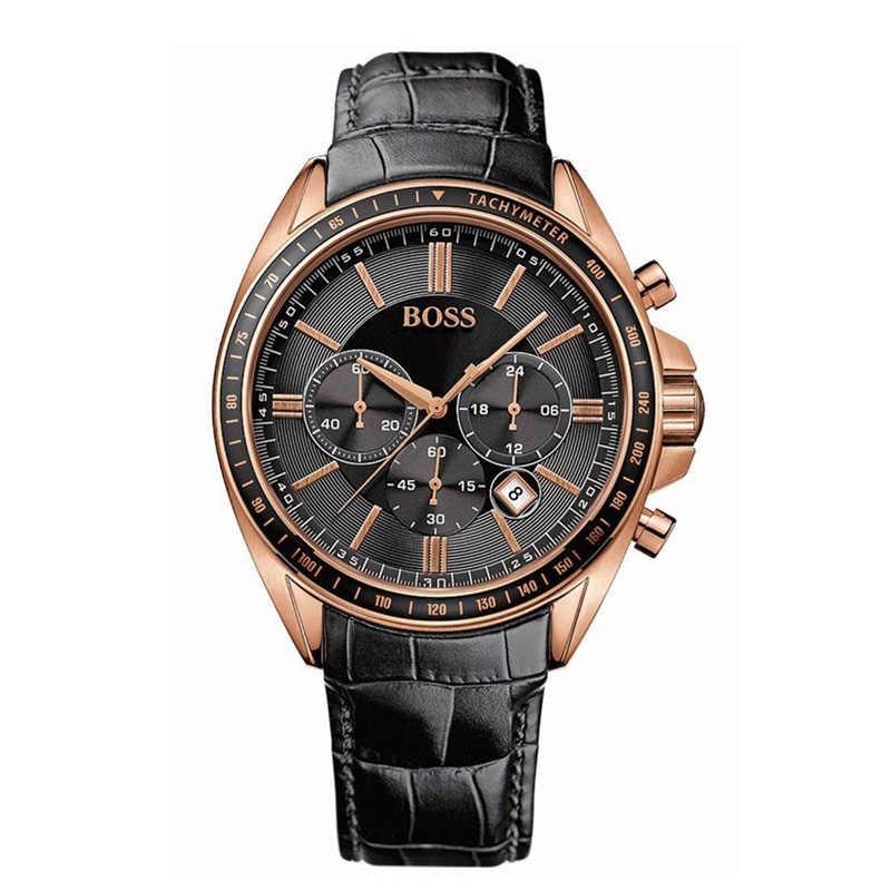 Reloj de pulsera para hombre de lujo de marca de reloj de pulsera de cuero negro con correa de conductor deportivo-1513092