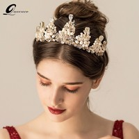 Luxury Large Wedding Pageant Gold Tiara Crown Crystal Bridal Pageant Crown And Tiaras For Women Headband