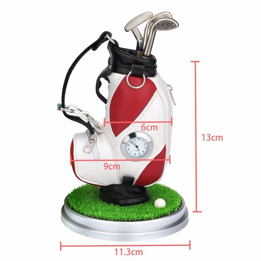 Image 3 - Caiton Mini Golf Bag Pen Holder With Lawn Base Clock And Three Golf Club Pens Decoration Gift-in Golf Training Aids from Sports & Entertainment