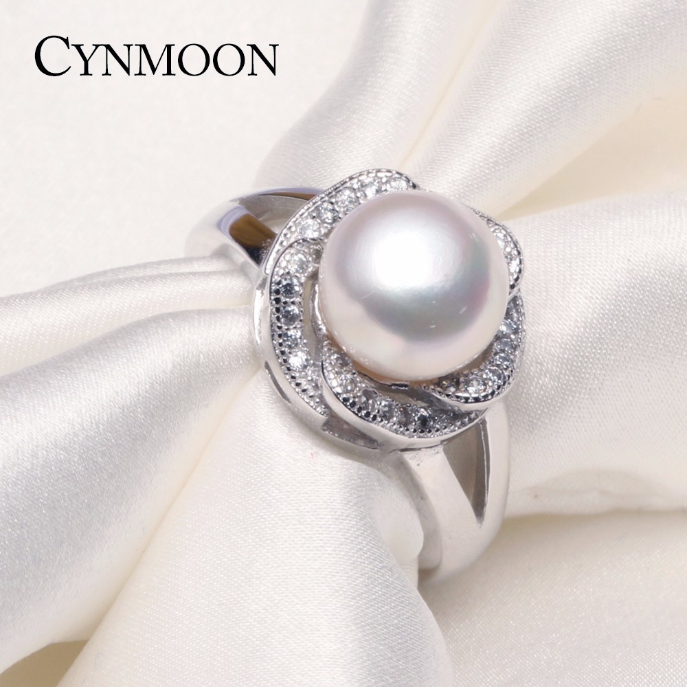 925 Silver Natural Freshwater Flower Pearl Rings ,89mm White Pearl  Adjustable Ring Jewelry