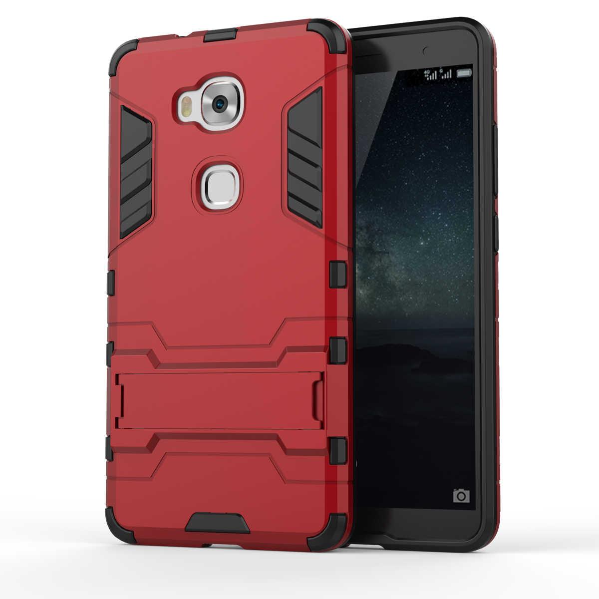 Armatura di Caso Per Huawei Honor 5X Heavy Duty Hybrid Hard morbido Robusta Gomma di Silicone Caso Della Copertura Del Telefono Coque con il Basamento funzione (<