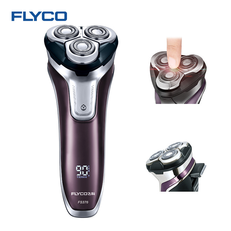 Flyco 3D плавающая головка Перезаряжаемые Портативный тела моющиеся электробритва светодио дный свет быстрая зарядка Triple Blade barbeador FS376