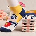 Senhoras Kawaii sailor moon mês coelhos de gelo de água navio meias mulheres meias de algodão do outono do verão bonito padrão dos desenhos animados ankle socks