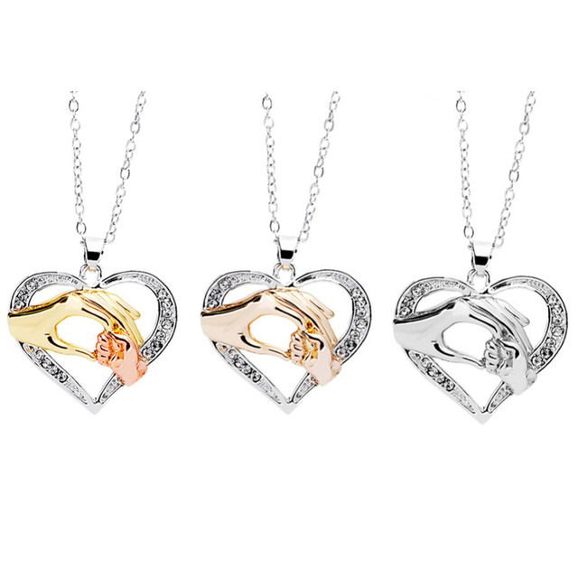 New Arrive Baby Hand Holding Love Heart Pendant Necklace Rose Gold